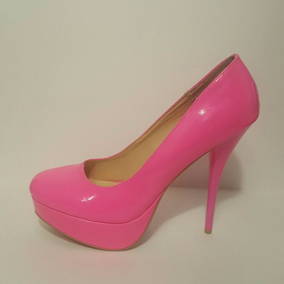 4754705d6f51 Charlotte Russe Shoes - Hot Pink Patent Leather Platform Heels